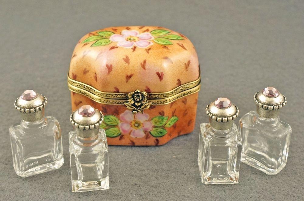 NEW FRENCH LIMOGES BOX BEAUTIFUL SCENTER CHEST W WILD ROSES & PERFUME BOTTLES #LIMOGESHINGEDBOX