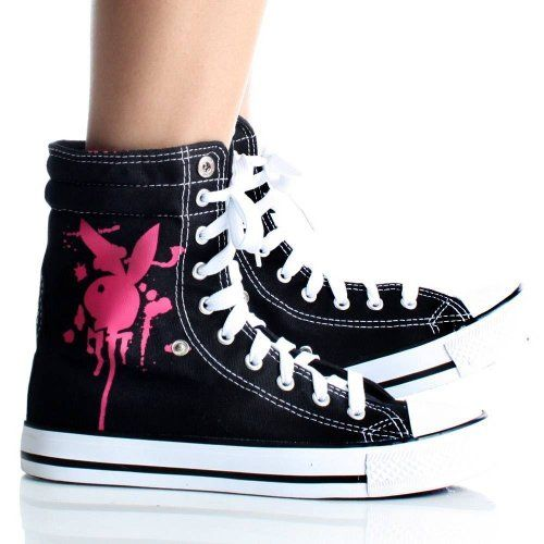 Playboy Bunny Womens High Top Sneakers Skate Shoes Black Lace up Boots ea5ae6d70