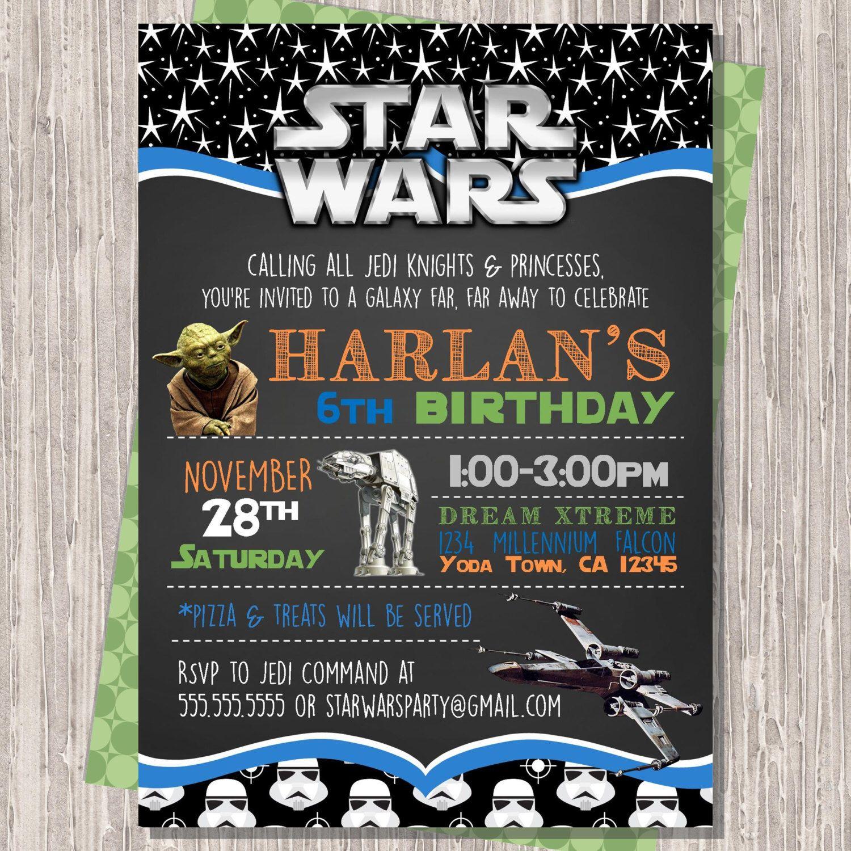 Star Wars Invitation, Star Wars Birthday Invitation, Star Wars Invite, Star  Wars Birthday
