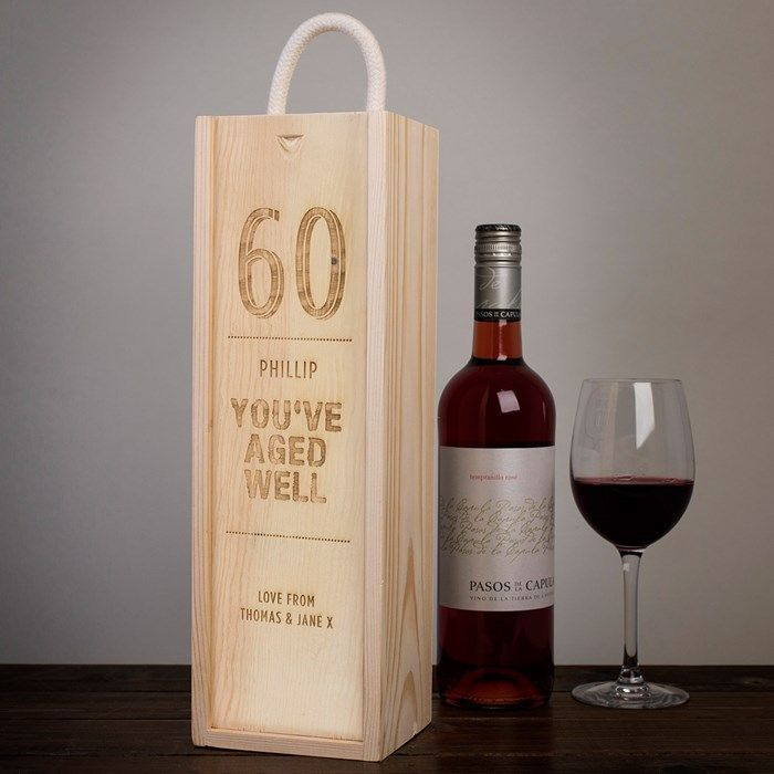 Personalised 30th Birthday Gift for Men Him Male Engraved Wood Wine Alcohol Box