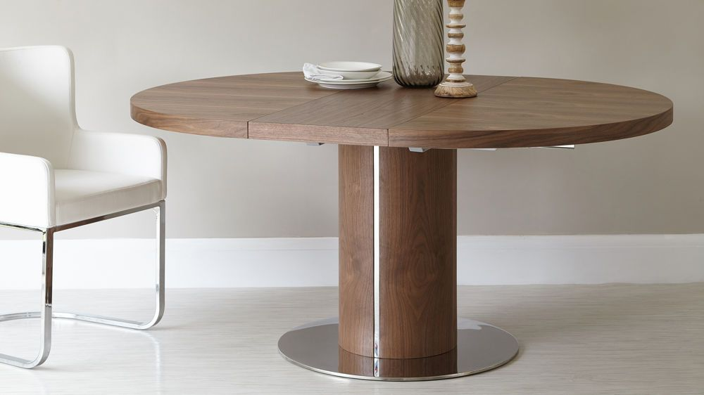 Incroyable Curva Round Walnut Extending Dining Table