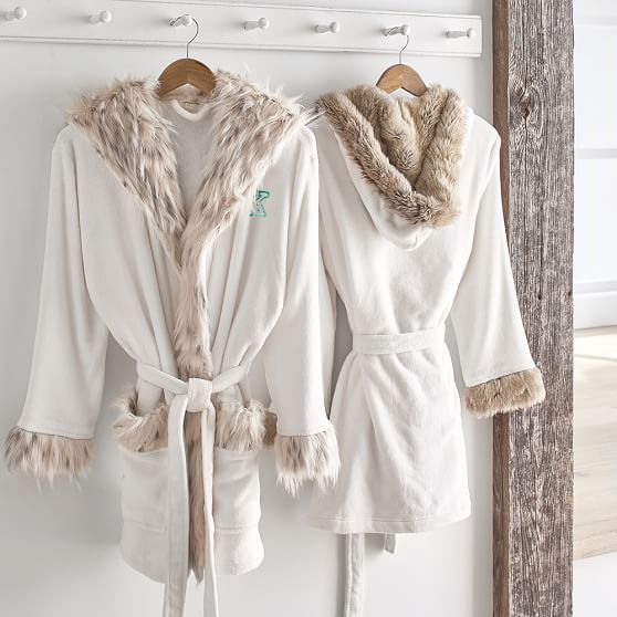 Faux Fur Hooded Robe Robe Comfortable Outfits Fur Robe