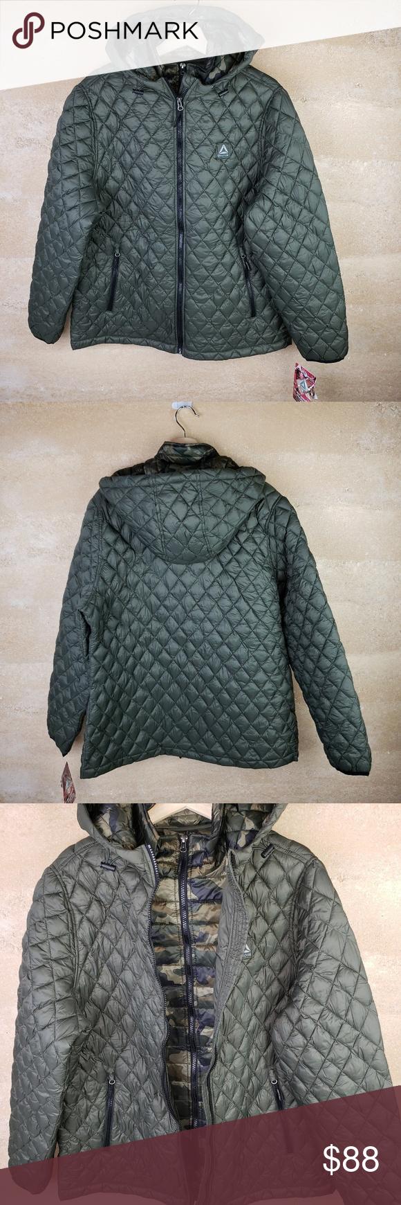 Reebok Nwt Puffer Jacket Xl Olive Camo Hood Womens Camo Reebok Clothes Design [ 1740 x 580 Pixel ]