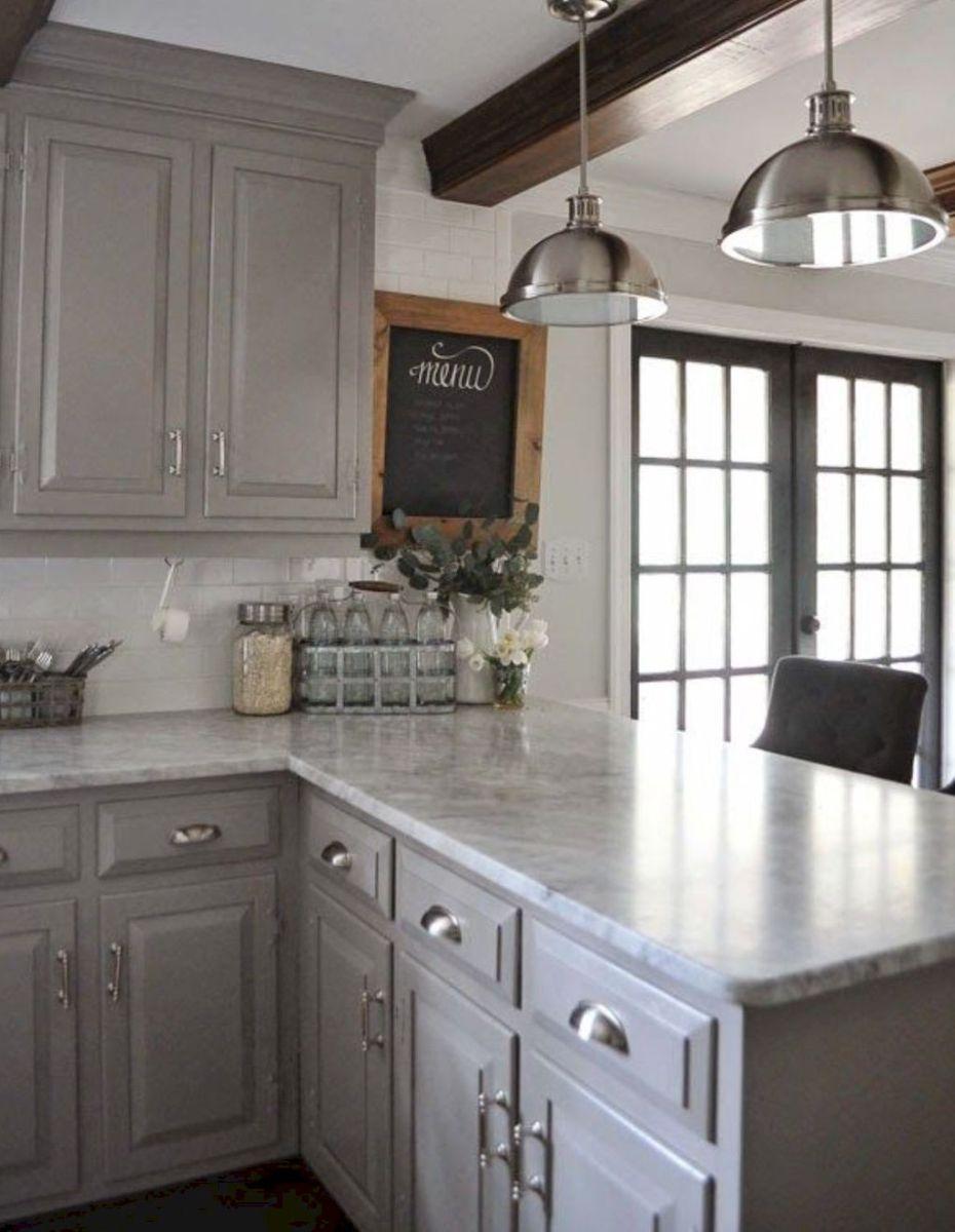 Best Rustic Farmhouse Gray Kitchen Cabinets Ideas 24 Farmhouse Kitchen Cabinets Grey Kitchen Cabinets Kitchen