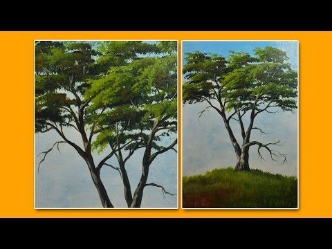 Learn How to Paint a Tree-Acrylic Painting Lesson by JMLisondra - YouTube