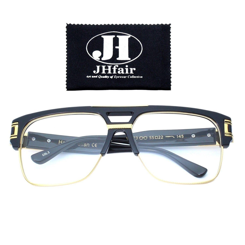 9af071688 Designer Square Aviator Large Fashion Retro Sunglasses For Men Flat Top  Frame - Clear- Black/Gold Frame - C312NTYEE8F-Men's Sunglasses, Aviator ...