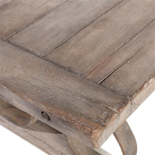Talulah French Country Rustic Iron Scroll Aged Wood Dining Table - Aged wood dining table