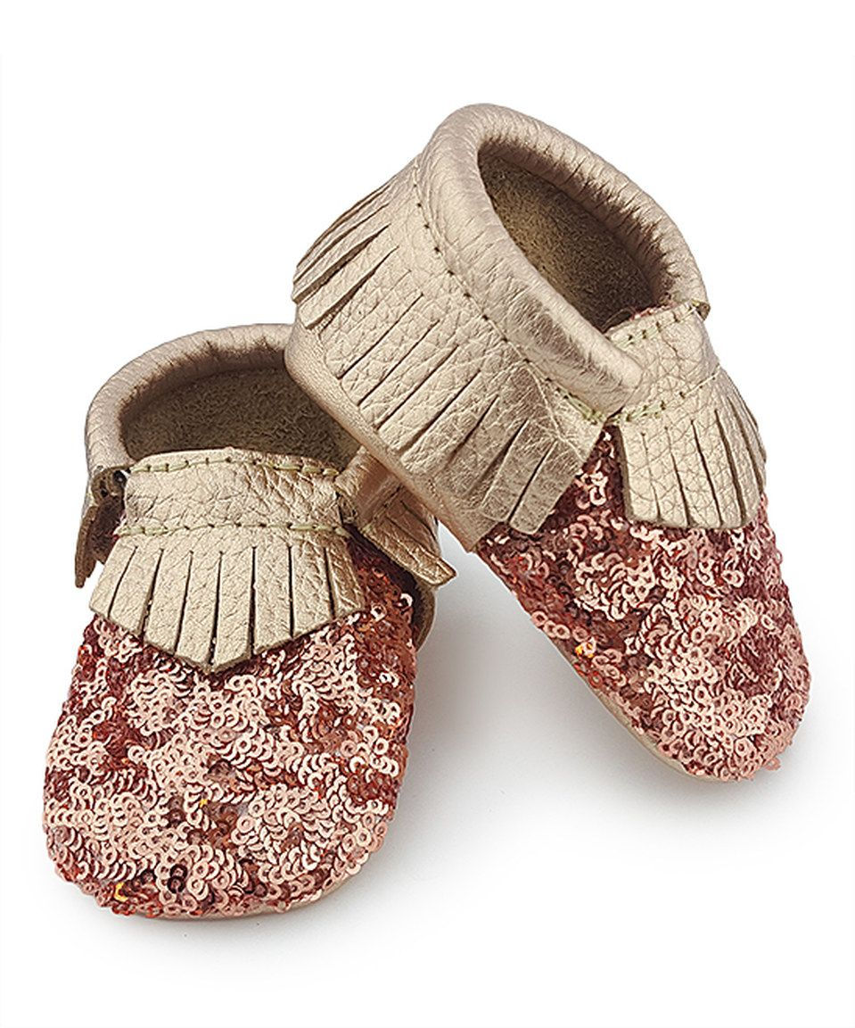 This Rose Gold Metallic Dream Moccasin by first steps is perfect! #zulilyfinds