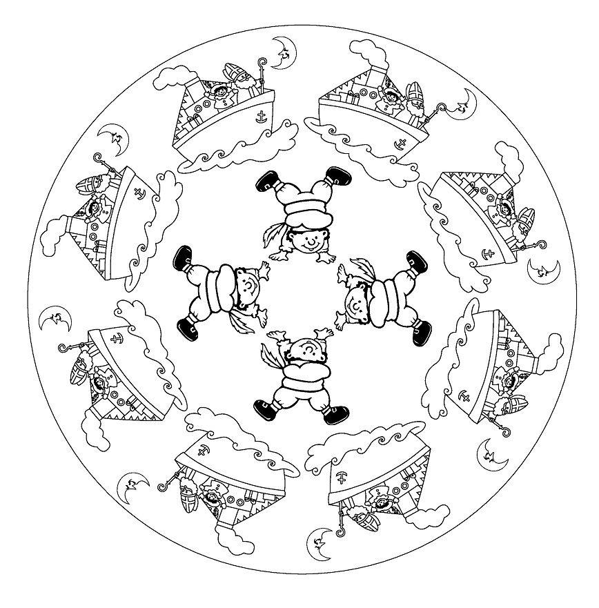 Kleurplaten Sint Mandala.Mandala Boot En Pieten Kerst Sinterklaas Sint