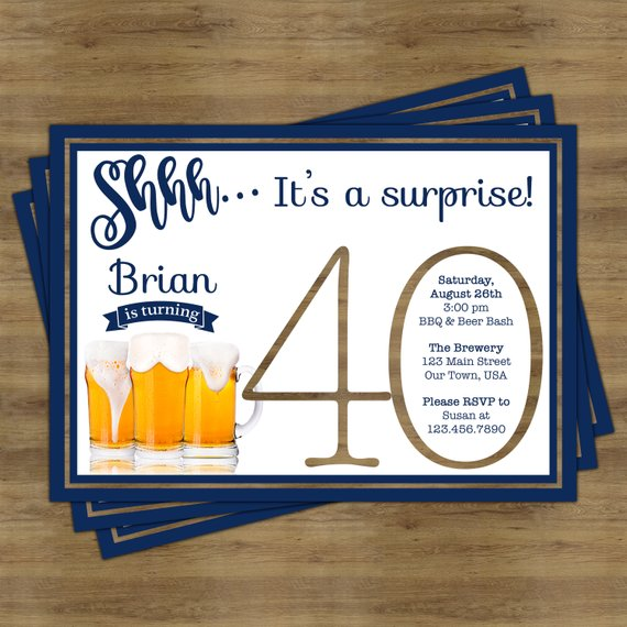 beer party invitation surprise 40th birthday invitation for him