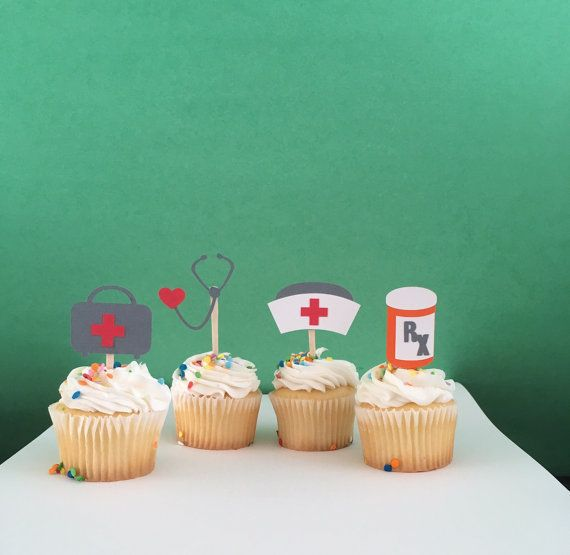 Doctornurse white shirt with pink stethoscope cupcake topper;  Hors d/'oeuvres picks; Appetizer picks