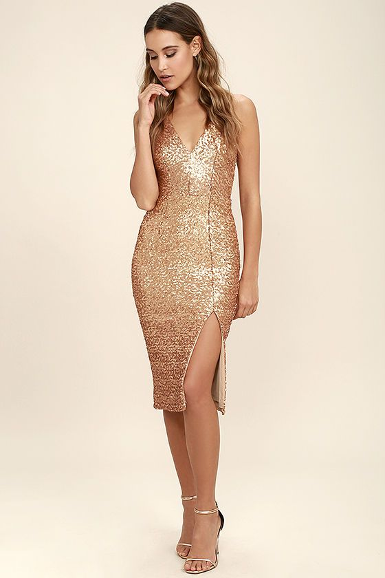 8e5ddf479d Opulent occasions call for the Dress the Population Camilla Gold Sequin  Midi Dress! Shimmering sequins cover stretch knit as it shapes a plunging  neckline ...