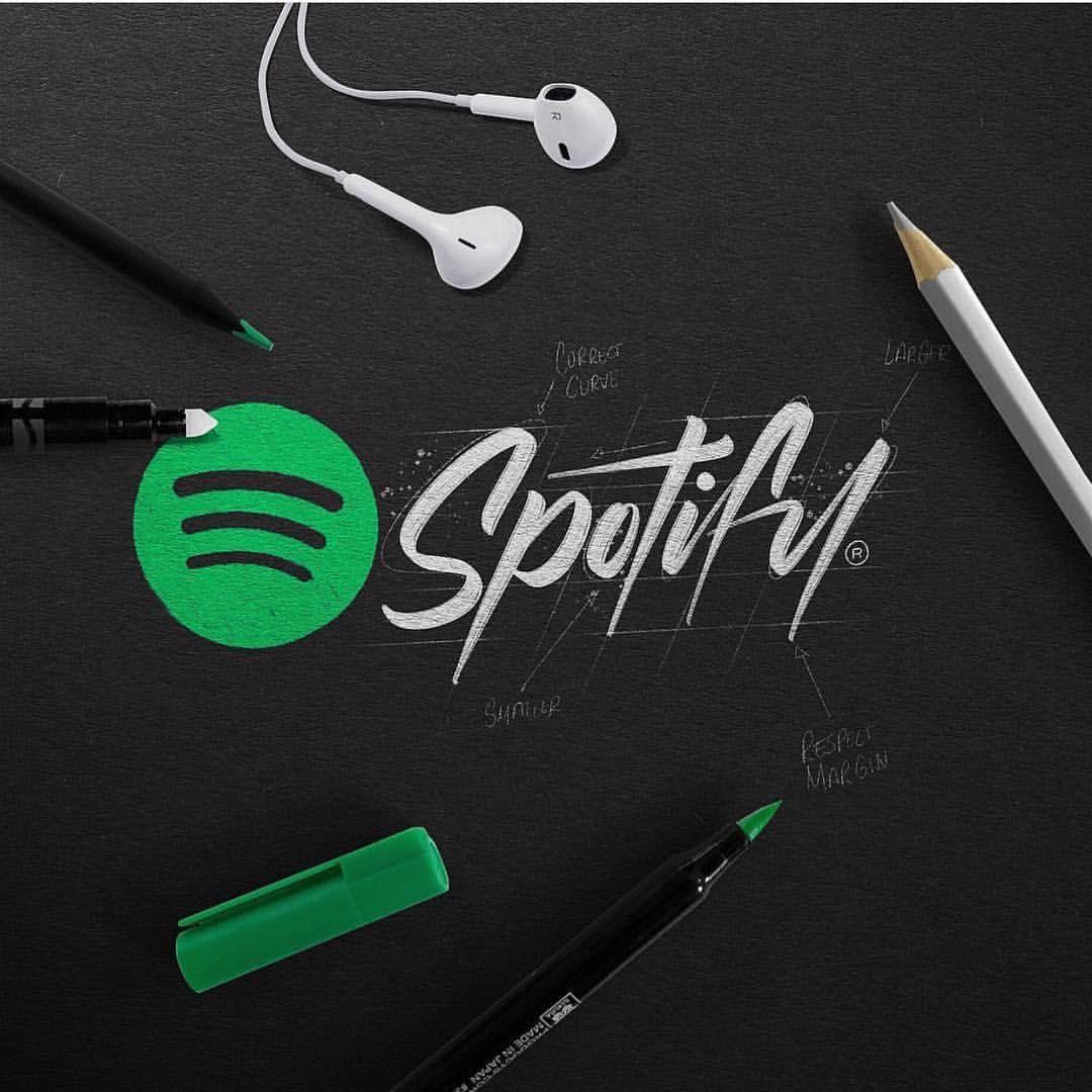 Calligraphic Spotify by luislili 👉 www.logoinspirations