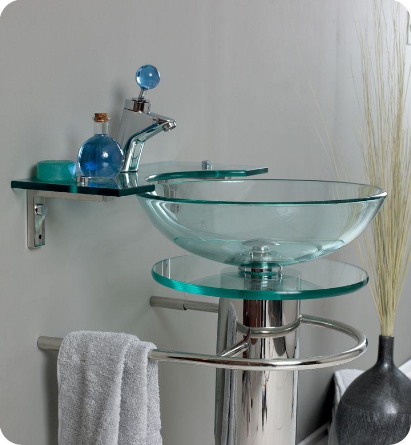 20.75 Inch Modern Glass Vessel Sink Bathroom Vanity with ...