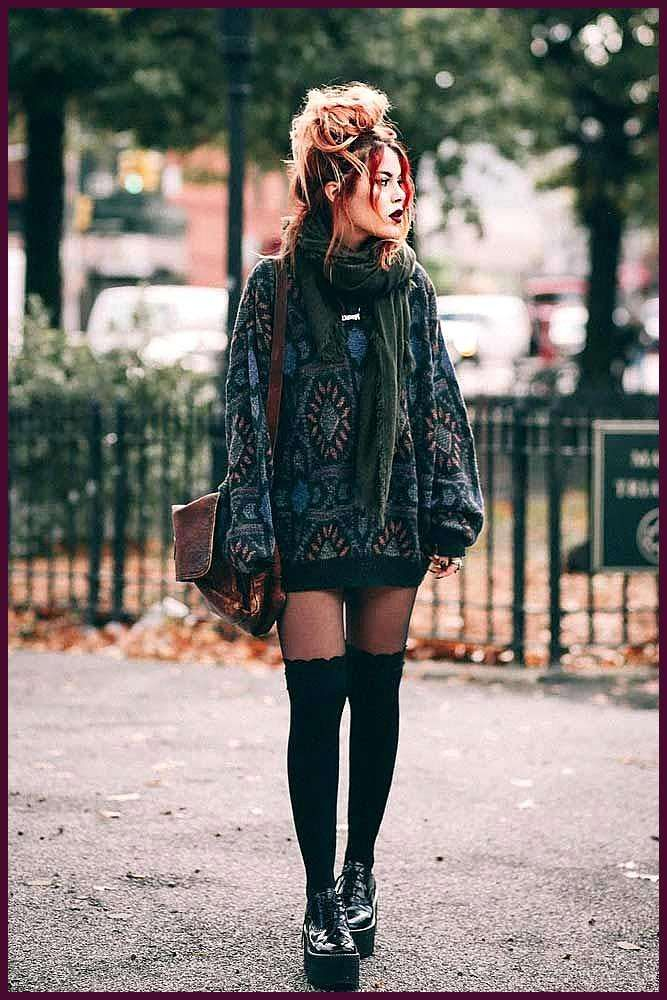 Basics Of Grunge Style And Modern Interpretation-  Sweater Dress With Stockings #stockings #sweaterdress ★ Edgy grunge style from the 90s to inspire...