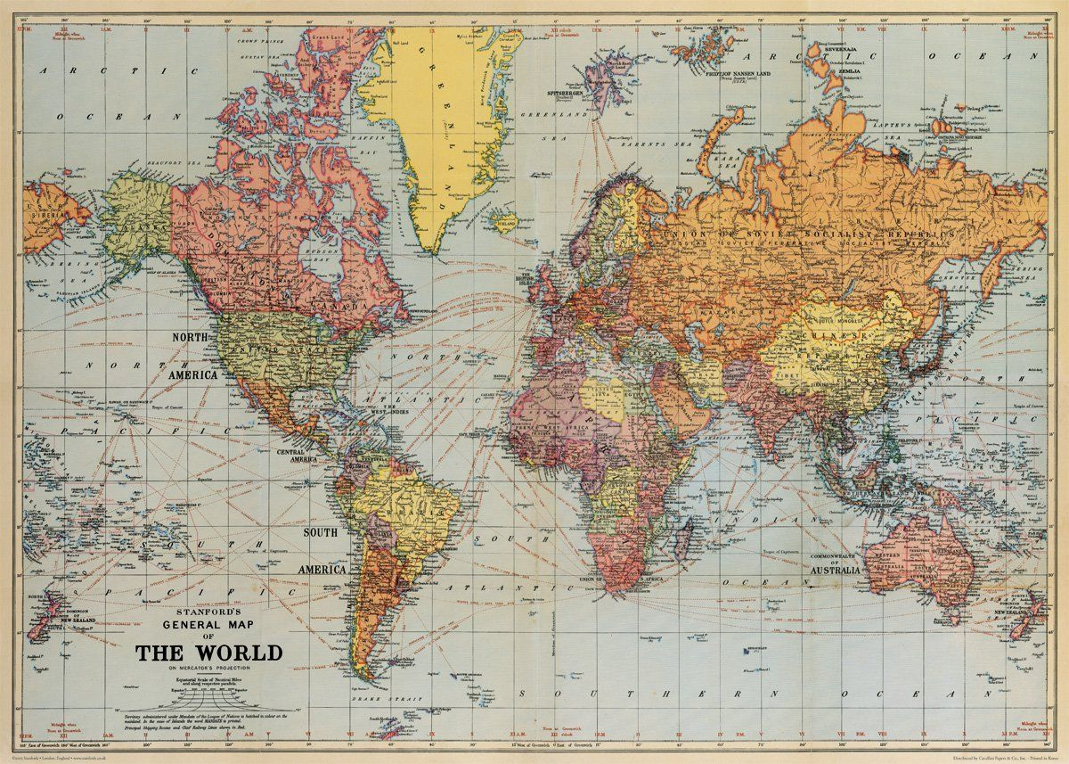 Amazon cavallini co world map decorative wrapping paper world map decorative wrapping paper 20x28 world gumiabroncs Gallery