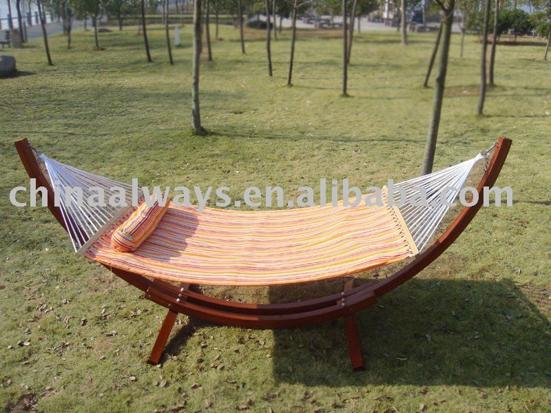 Double Deck Quilted Free Standing Hammock With Wood Buy