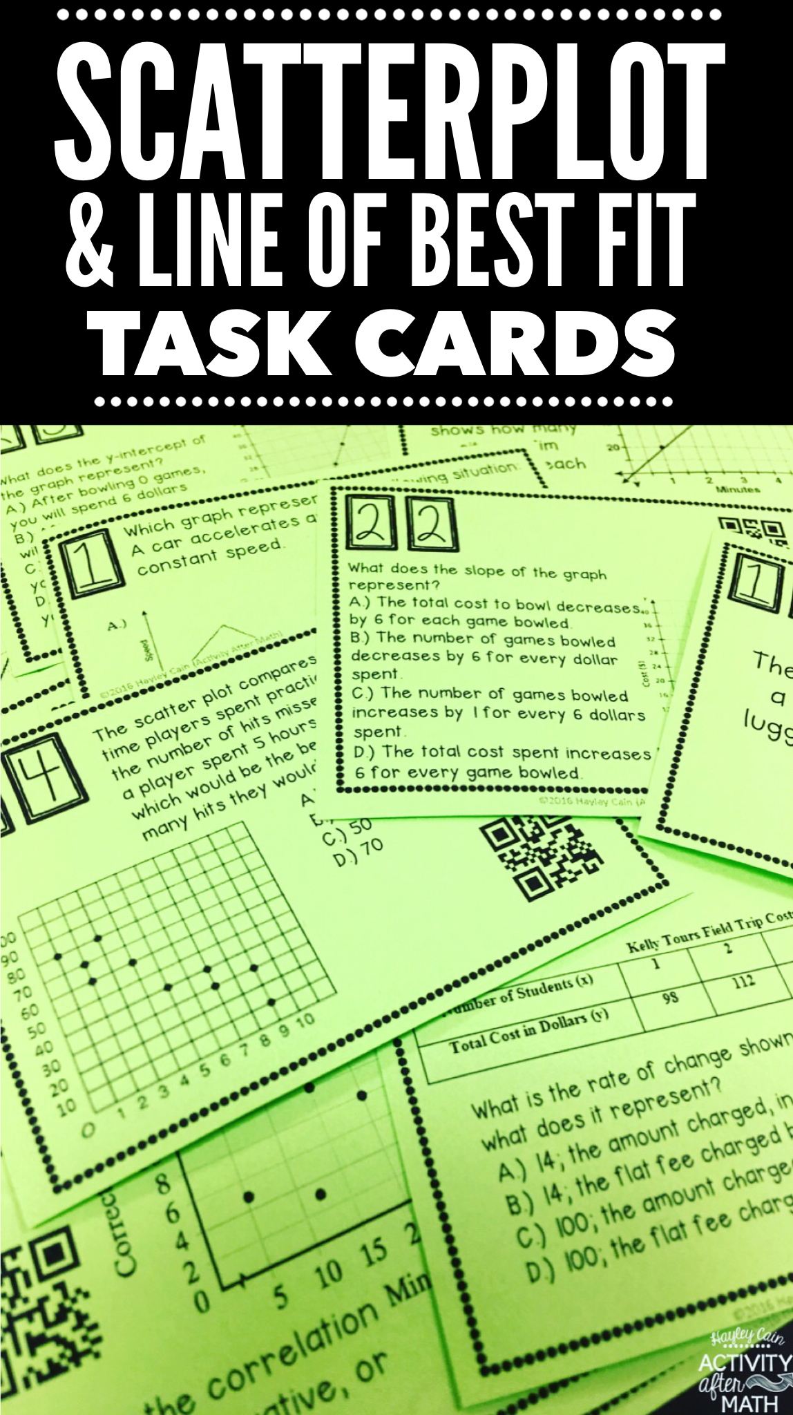 Scatter Plots And Line Of Best Fit Task Cards With Qr