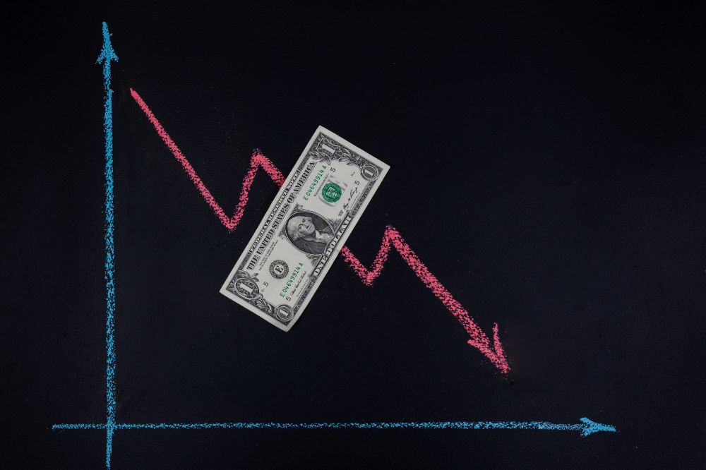 Currency Forex Trends Concept Downward Trend Depicted With Line Graph Pointing Down Drawn With Chalk On Blackboard An One Dollar Bill Line Graphs Dollar Bill