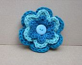 crochet brooch 3 layer crochet flower with button in blue shades