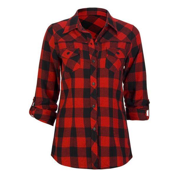 bdc52d89ebf8bc FULL TILT Buffalo Plaid Womens Flannel Top ($25) found on Polyvore ...