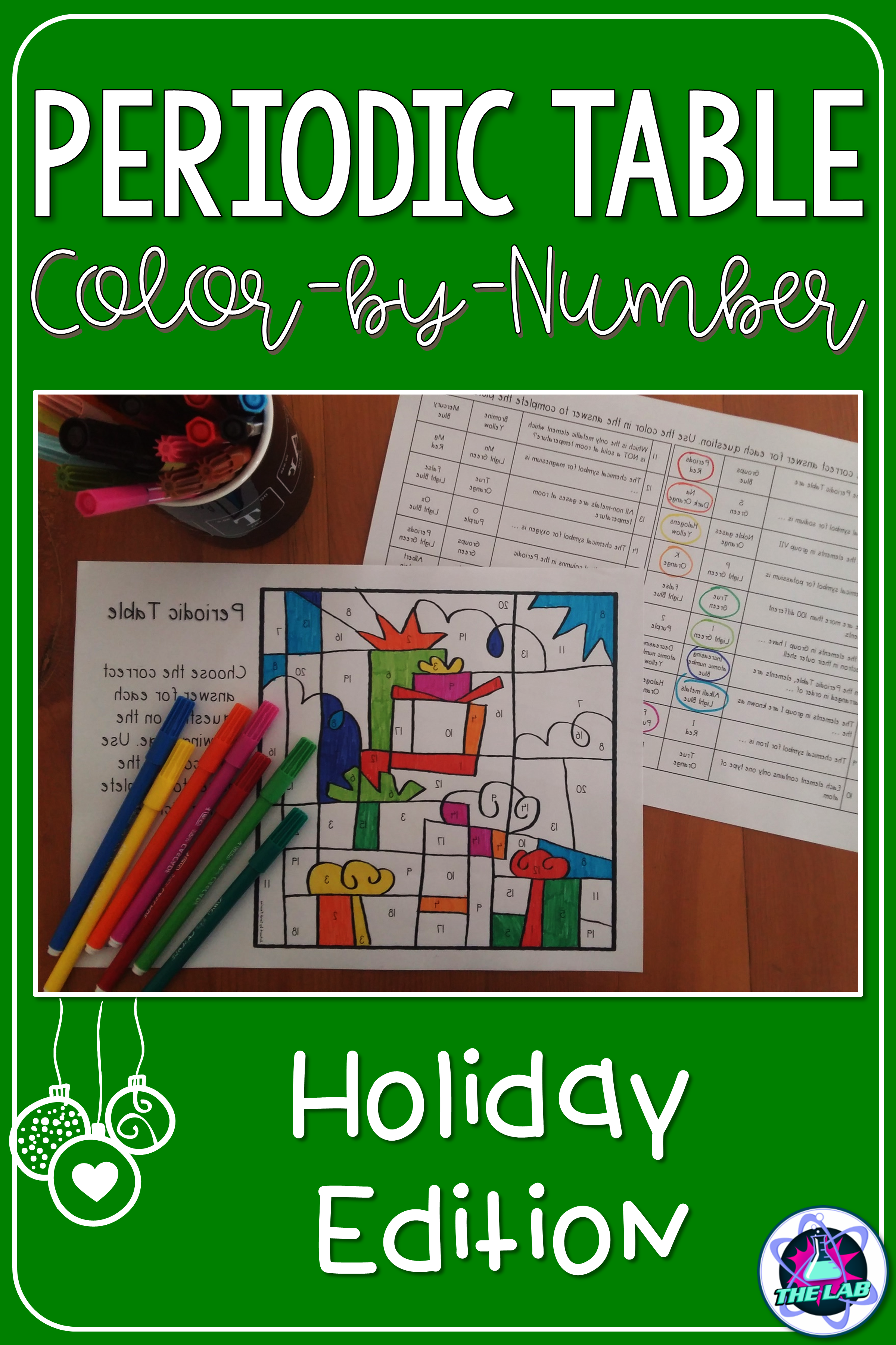 Holiday Themed Periodic Table ColorbyNumber Activity