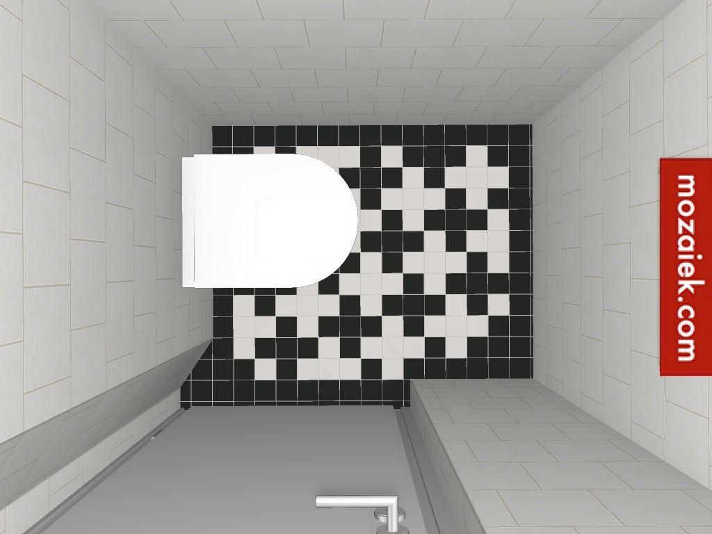 Staand toilet thuan met geruisloze deksel zwart en wit