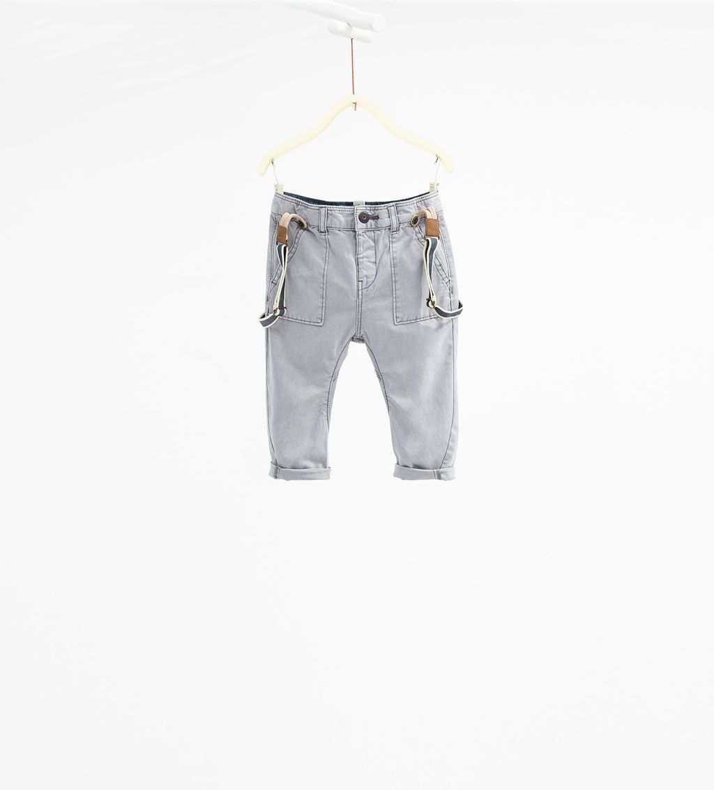 Twill Trousers With Braces Trousers Baby Boy 3 Months 3