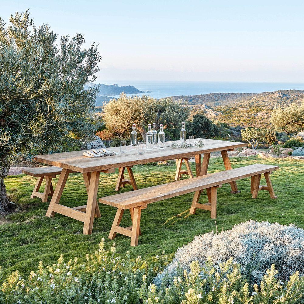 Table de jardin en teck recyclé 12/14 personnes L300 | Outdoors ...