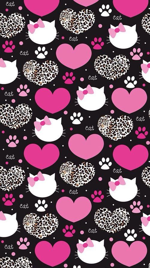 Image Via We Heart It Background Cat Heart Pattern Wallpaper