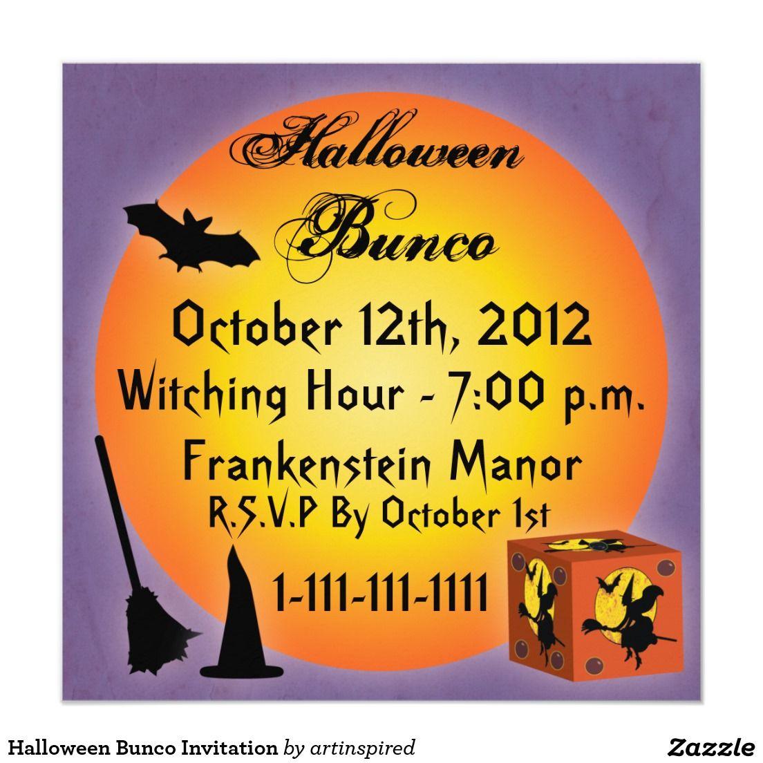 Halloween Bunco Invitation Party time Pinterest Halloween