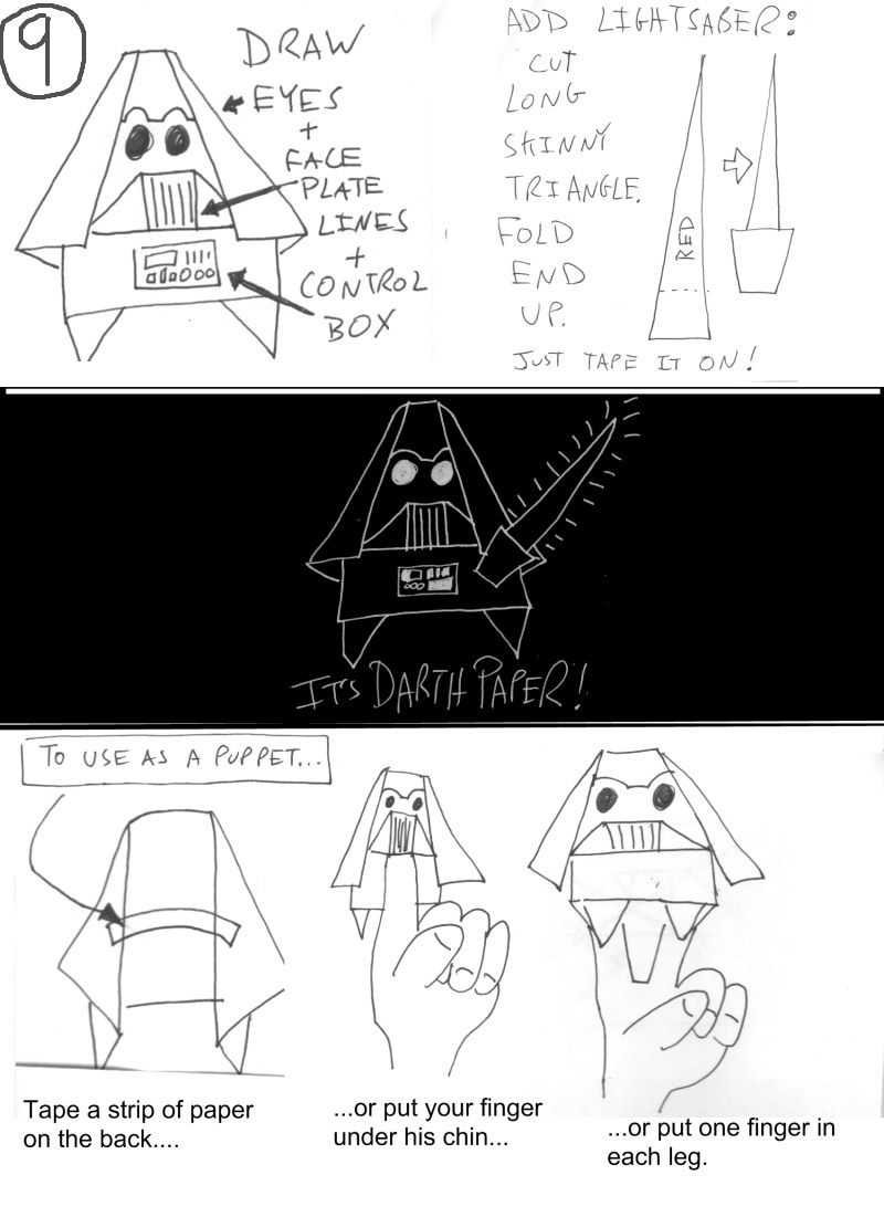 Updated Easy Cover Yoda Instructions | Origami Yoda | 1101x800