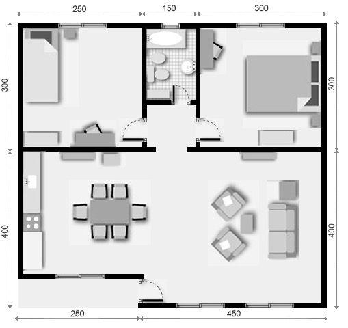 6 Plano De Casa 2 Dormitorios Planos Casa Dos Dormitorios Planos De Casas Casas Prefabricadas