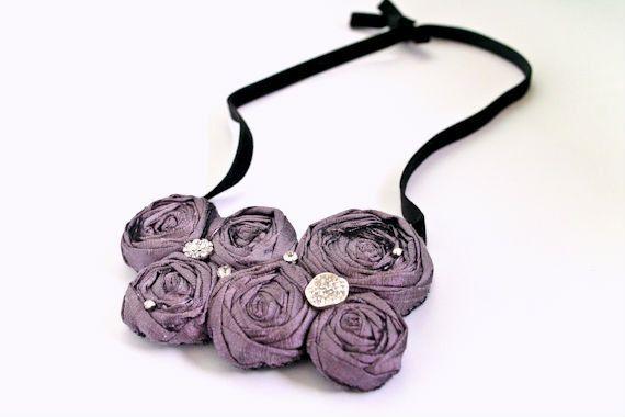 DUSTY PURPLE Rosette Bib Necklace Statement Flower by BelleBlooms