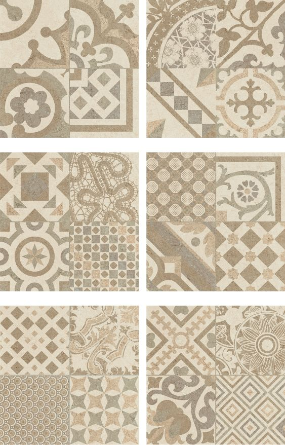 Carrelage beige imitation d cor carreau ciment 45x45 cm riviera bone home - Sol pvc imitation carrelage ancien ...