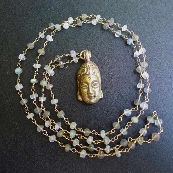 "30"" Moonstone and Labradorite Beaded Necklace with Buddha Pendant by 137point5"