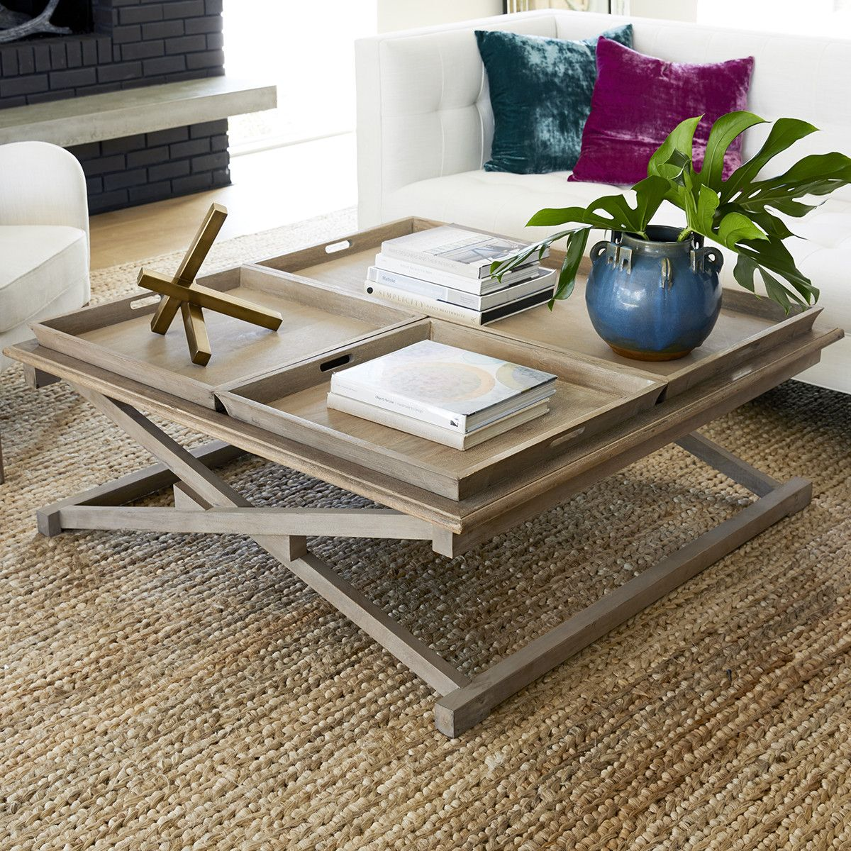 Large Coffee Table With Serving Trays In 2019