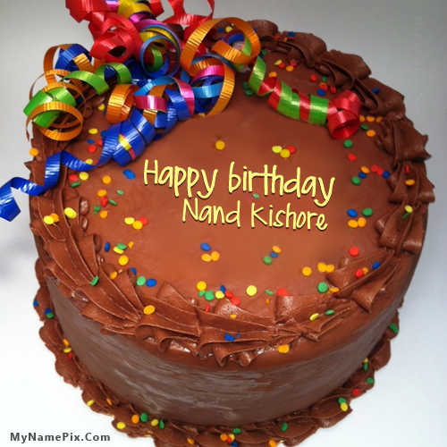 the name nand kishore is generated on party birthday cake with name image download and share birthday cake with name images and impress your friends