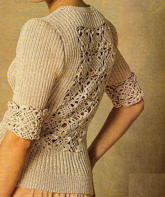 Tricot] Le pull au dos ajouré | Crochet | Pinterest | Stricken