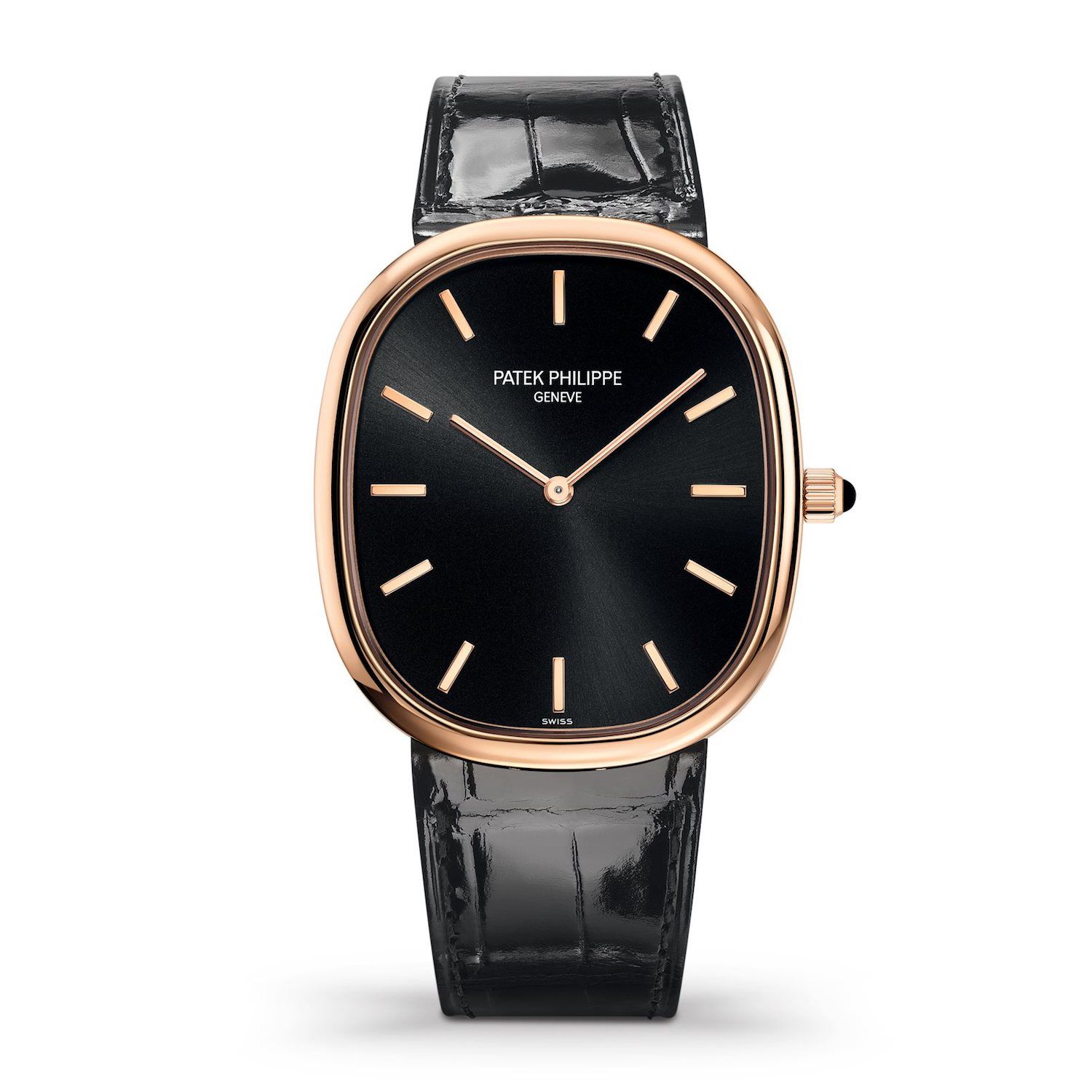 59d709e55fa 5738R-001 – Rose Gold – Golden Ellipse TECHNICAL Mechanical self-winding  movement. Caliber 240. Dial  Ebony black sunburst with gold applied hour  markers.