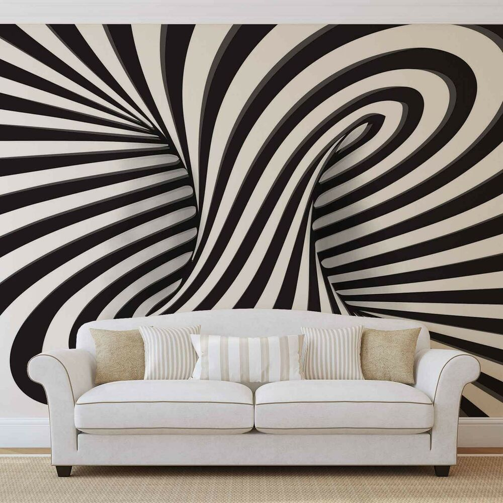 3D Wood Tunnel Optical Illusion Wallpaper Wall Mural Fleece Easy-Install Paper