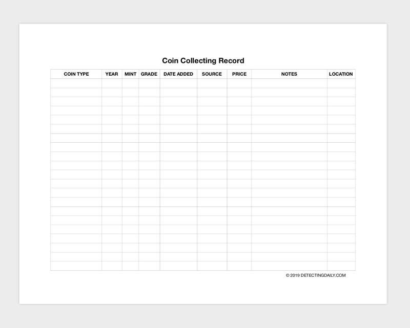 Free Printable Coin Collecting Record And Spreadsheet Coin