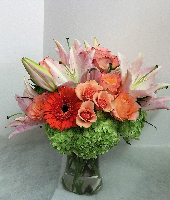 Pink Orange Green Flower Arrangement Lilies Gerberas Peach Spray Roses Freespirit Hydrangea
