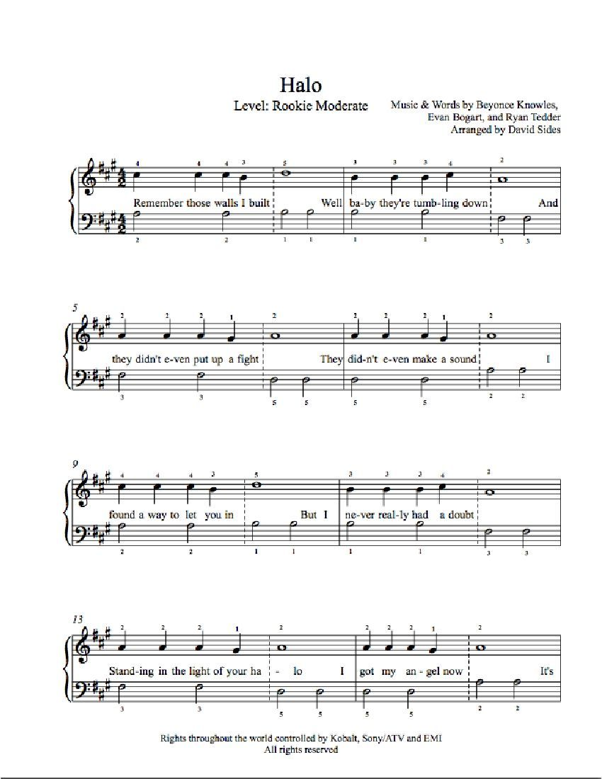 Halo By Beyonce Knowles Piano Sheet Music Rookie Level With