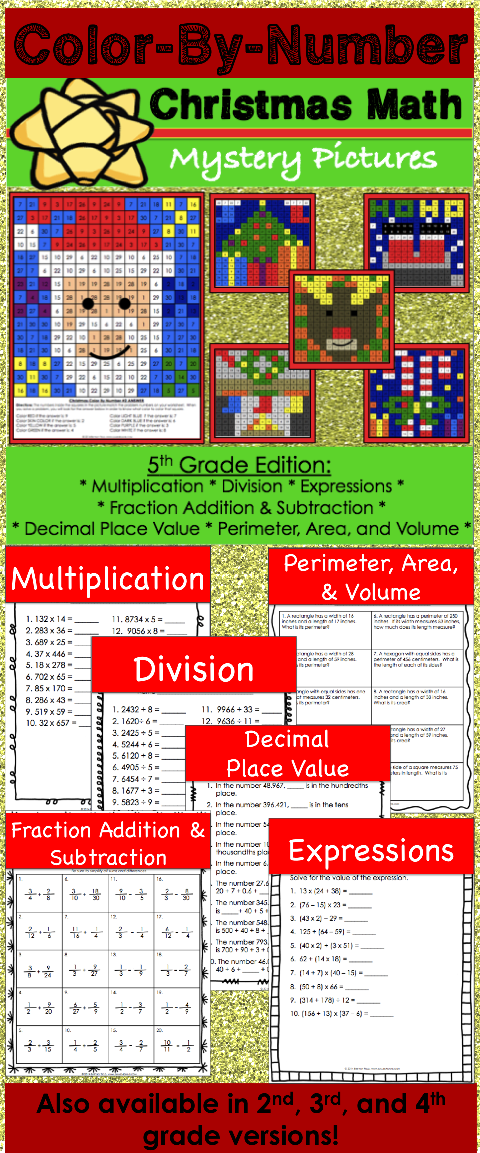 5th Grade Christmas Activities: 5th Grade Christmas Math (Color-by ...