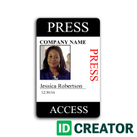 Press Pass Custom Press Credentials Id Card Template Photography Business Cards Template Business Cards Creative Templates