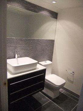 powder room.. modern masculine half bath - modern