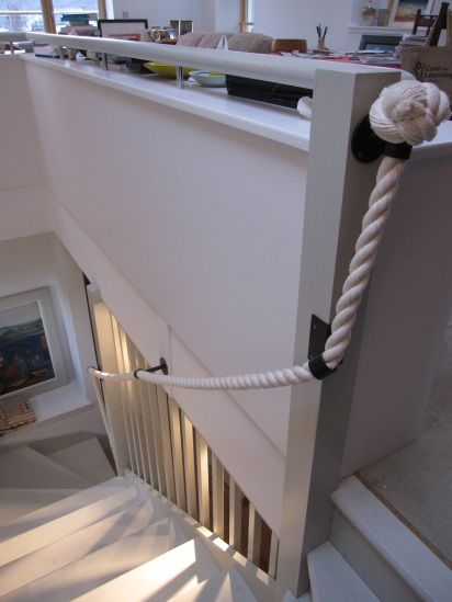 Best Banister 32Mm Cotton Rope With Bespoke Brackets Jpg 412 640 x 480