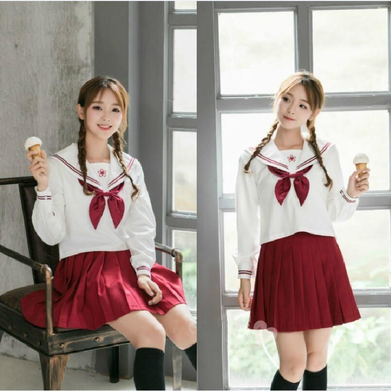 Japan School Uniform Suits Shirt+Skirt Women Girls Sailor Suit JK Uniform Fashio