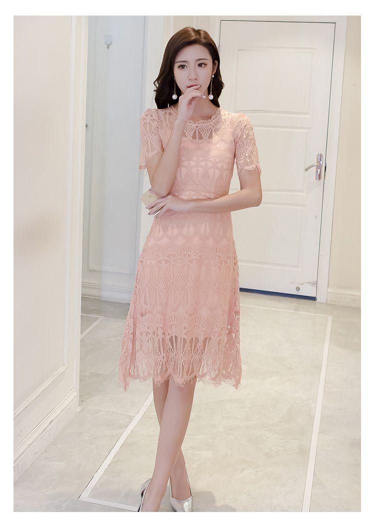 Платье летнее гипюр персикового цвета с юбкой ниже колен 1572 руб ...